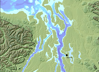 Present-day Puget Sound region. Note the generally north/south alignment of ridges along the direction of the ice flow. Melting runoff channels beneath the retreating glaciers carved broad valleys and deep north-south troughs that eventually became Puget Sound. Adapted from Thurson, 1989; topography from USGS.